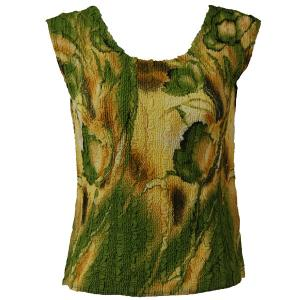 Magic Crush Georgette - Sleeveless* Tulips Green-Gold - Plus Size (L-XL)