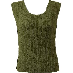 Magic Crush Georgette - Sleeveless* Solid Olive - Plus Size (L-XL)