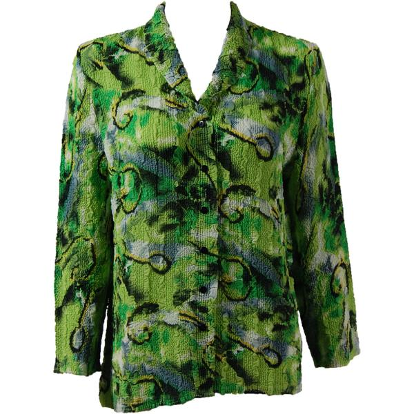 Magic Crush Georgette - Blouse* Abstract Watercolors Lime-Black - One Size  Fits (S-M)