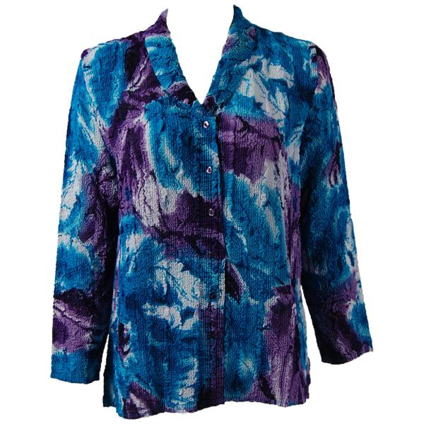 Magic Crush Georgette - Blouse* Turquoise-Purple Watercolors - One Size  Fits (S-M)