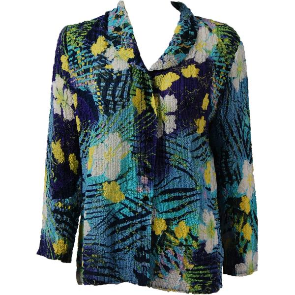 Magic Crush Georgette - Blouse* Blue-Purple Hawaiian - One Size  Fits (S-M)