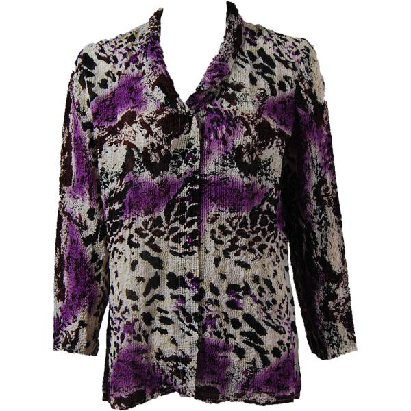 Magic Crush Georgette - Blouse* Reptile Floral - Purple - One Size  Fits (S-M)