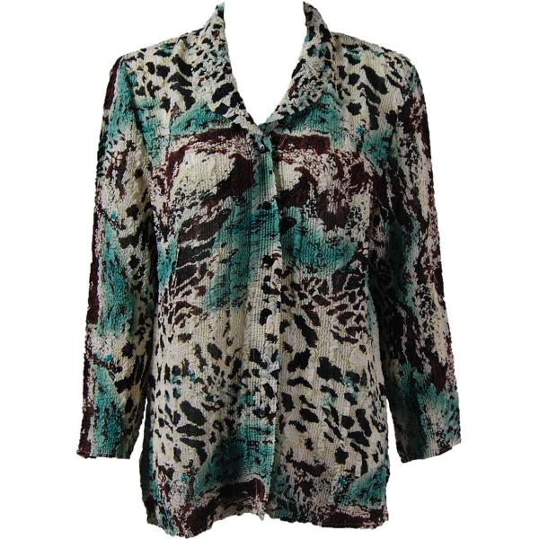Magic Crush Georgette - Blouse* Reptile Floral - Teal - One Size  Fits (S-M)