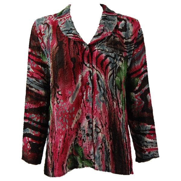 Magic Crush Georgette - Blouse* Abstract Floral - Pink-Green - One Size  Fits (S-M)