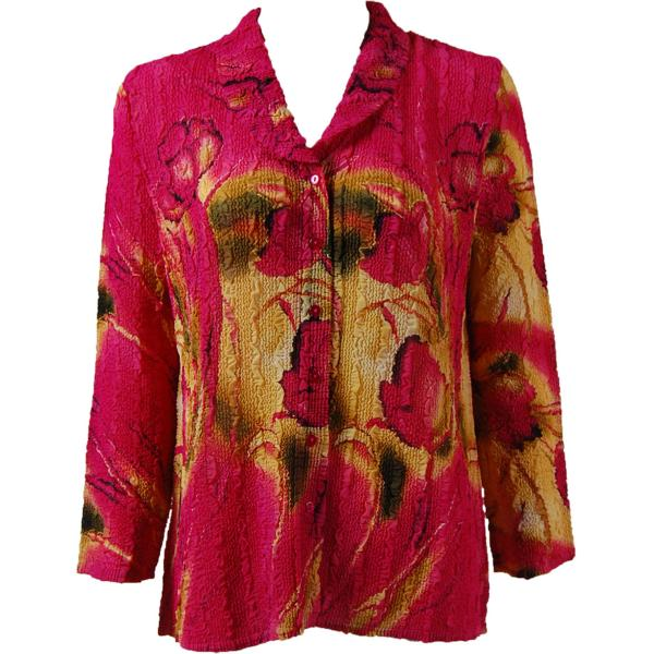 Magic Crush Georgette - Blouse* Tulips Magenta-Gold - One Size  Fits (S-M)