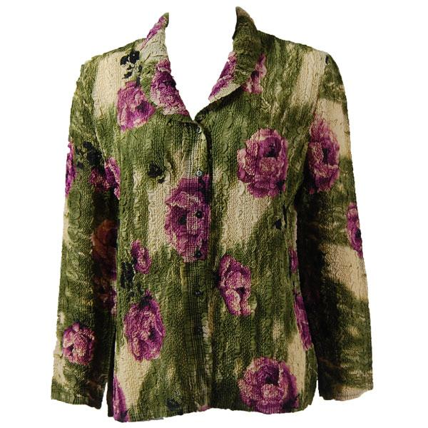 Magic Crush Georgette - Blouse* Roses Olive-Purple - One Size  Fits (S-M)