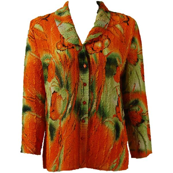 Magic Crush Georgette - Blouse* Tulips Green-Orange - One Size  Fits (S-M)