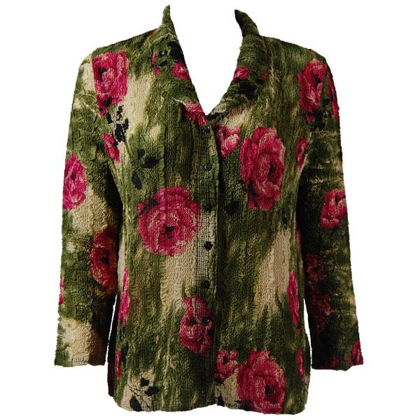 Magic Crush Georgette - Blouse* Roses Olive-Pink - One Size  Fits (S-M)