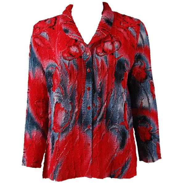 Magic Crush Georgette - Blouse* Tulips Charcoal-Red - One Size  Fits (S-M)