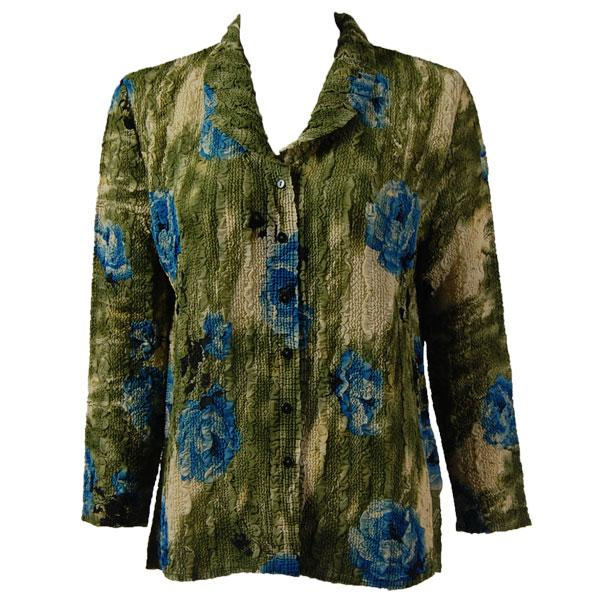 Magic Crush Georgette - Blouse* Roses Olive-Blue - One Size  Fits (S-M)