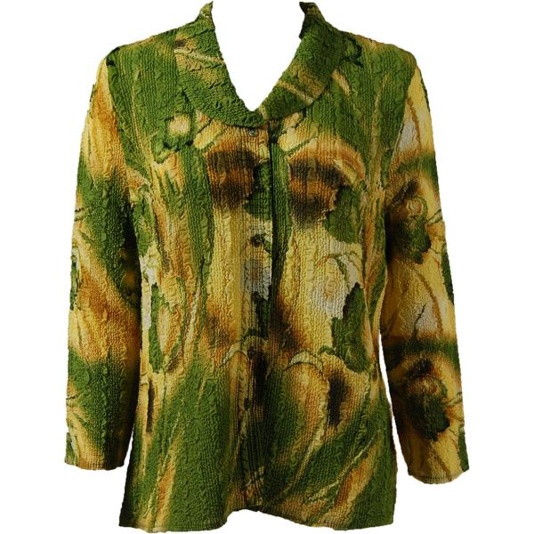 Magic Crush Georgette - Blouse* Tulips Green-Gold - One Size  Fits (S-M)