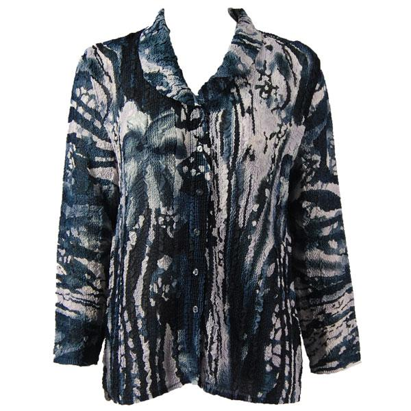 Magic Crush Georgette - Blouse* Abstract Floral - Navy-White - One Size  Fits (S-M)