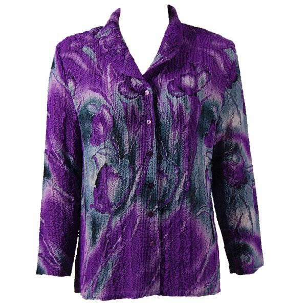 Magic Crush Georgette - Blouse* Tulips Charcoal-Purple - One Size  Fits (S-M)