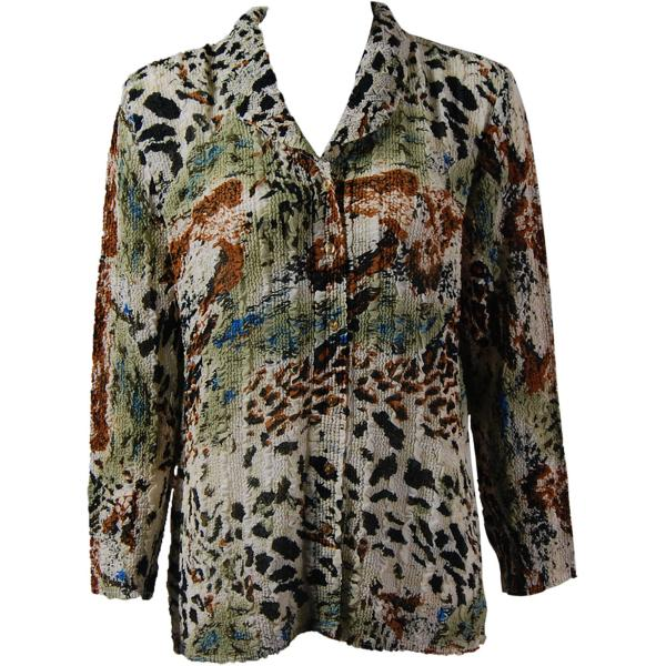 Magic Crush Georgette - Blouse* Reptile Floral - Light Green - One Size  Fits (S-M)