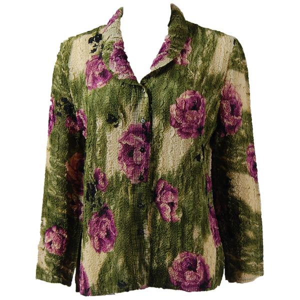 Magic Crush Georgette - Blouse* Roses Olive-Purple - One Size (L-XL)