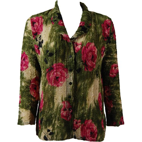 Magic Crush Georgette - Blouse* Roses Olive-Pink - One Size (L-XL)