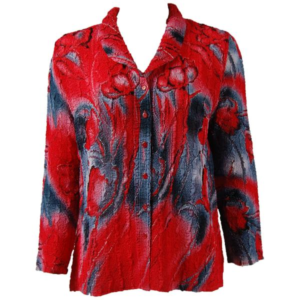 Magic Crush Georgette - Blouse* Tulips Charcoal-Red - One Size (L-XL)
