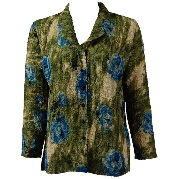 Magic Crush Georgette - Blouse* Roses Olive-Blue - One Size (L-XL)