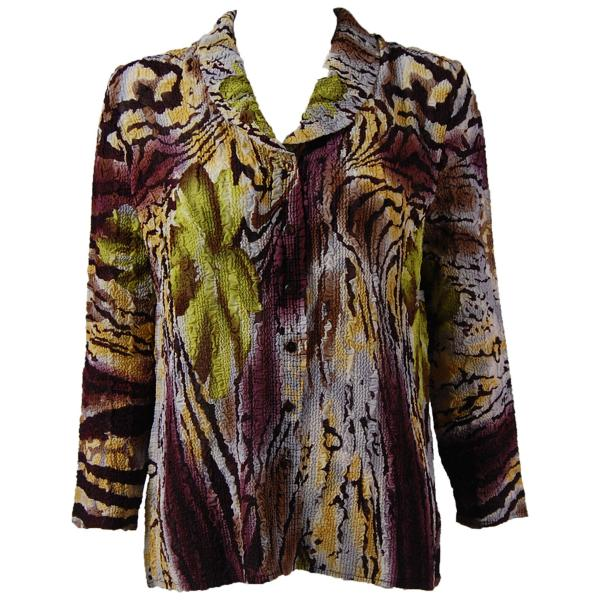Magic Crush Georgette - Blouse* Abstract Floral - Eggplant-Gold - One Size (L-XL)