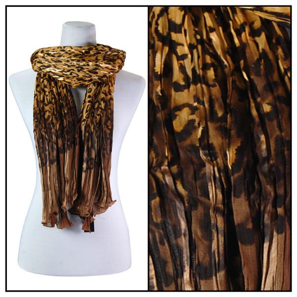 wholesale Oblong Scarves - Pleated Leopard 1003* Gold -
