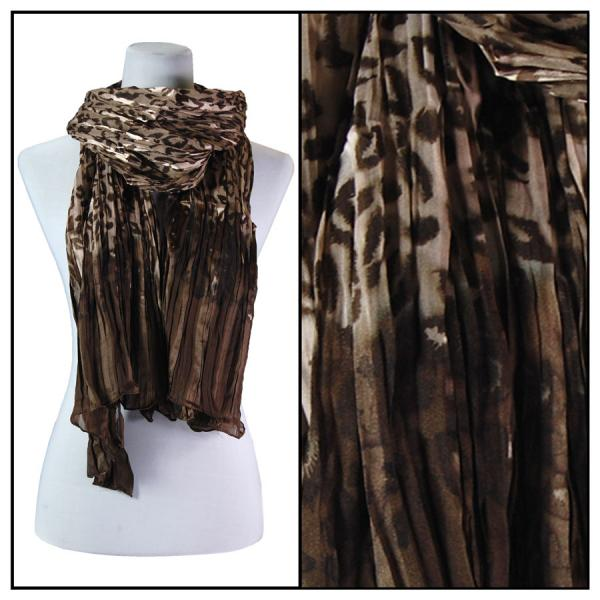 wholesale Oblong Scarves - Pleated Leopard 1003* Brown -