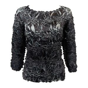 Satin Origami - Three Quarter Sleeve Black - Silver - One Size (S-XL)