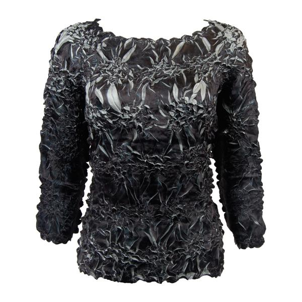 wholesale Satin Origami - Three Quarter Sleeve Black - Silver - One Size (S-XL)
