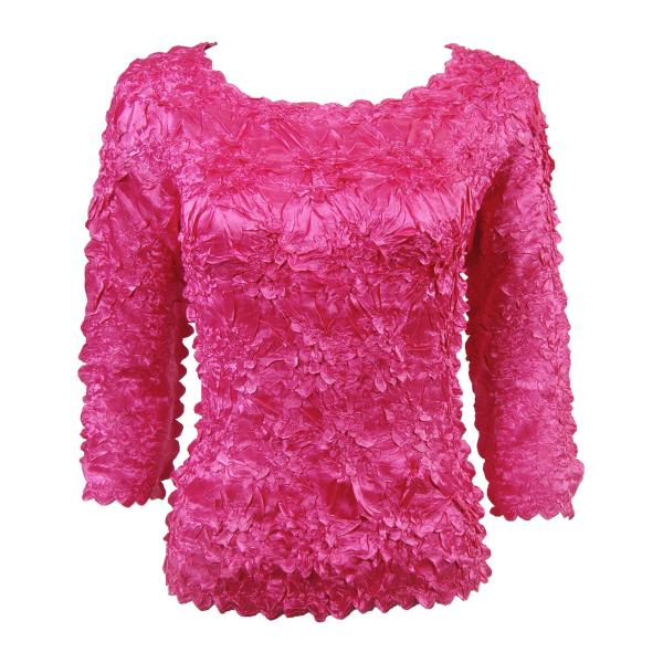 wholesale Satin Origami - Three Quarter Sleeve Solid Fuchsia - One Size (S-XL)