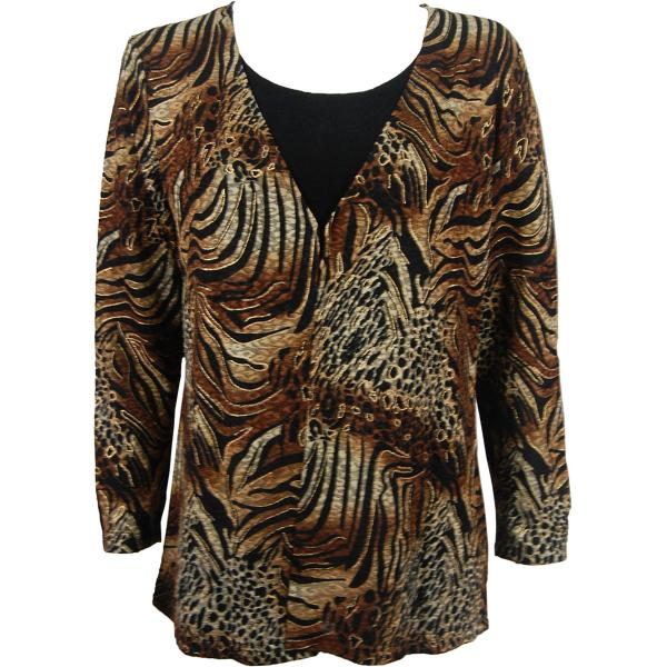 wholesale Slinky Travel Tops - Mock Cardigan* Animal Print with Brown and Gold Accent - Black - One Size Fits (S-L)