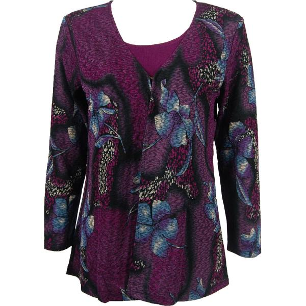 wholesale Slinky Travel Tops - Mock Cardigan* Hibiscus Purple - Purple - One Size Fits (S-L)