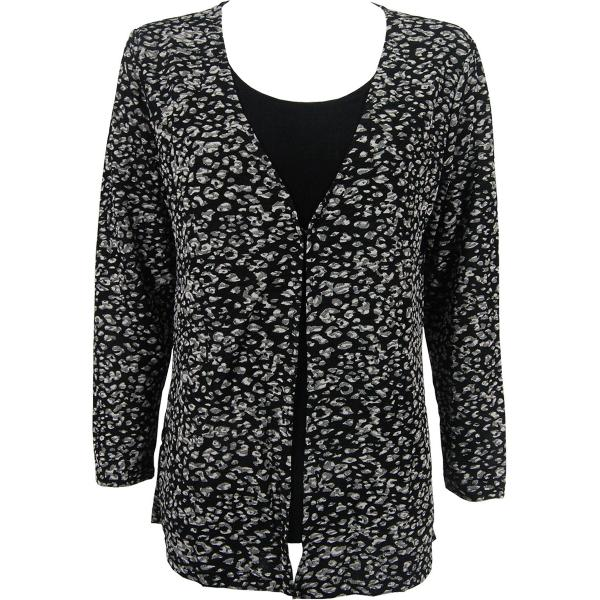 wholesale Slinky Travel Tops - Mock Cardigan* Leopard Black-White - Black - One Size Fits (S-L)