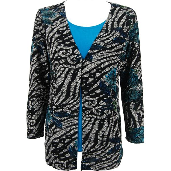 wholesale Slinky Travel Tops - Mock Cardigan* Zebra Floral Teal - Teal - One Size Fits (S-L)
