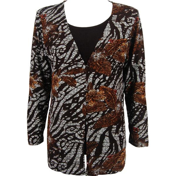 wholesale Slinky Travel Tops - Mock Cardigan* Zebra Floral Brown - Dark Brown - One Size Fits (S-L)