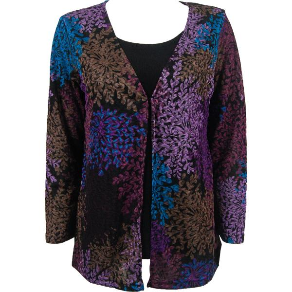wholesale Slinky Travel Tops - Mock Cardigan* Multi Floral - Black - One Size Fits (S-L)