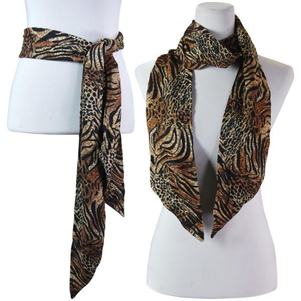 wholesale Slinky Scarf/Sash* Animal Print with Brown and Gold Accent -