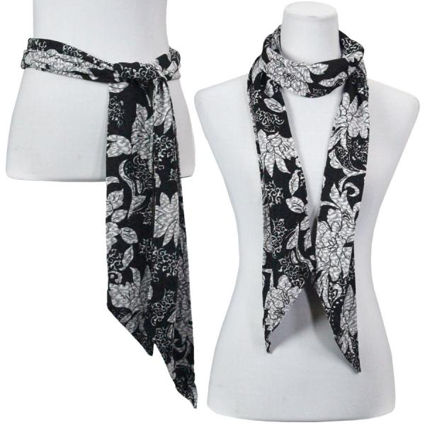 wholesale Slinky Scarf/Sash* Floral Silver on Black -