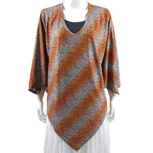 wholesale Overstock and Clearance Tops Slinky Style Poncho - Diagonal Leopard Copper Silver - One Size Fits All