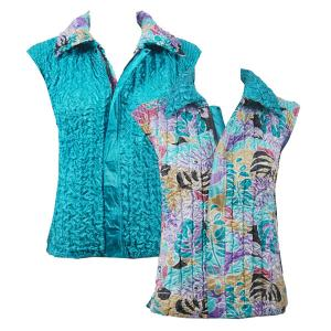 wholesale Overstock and Clearance Tops Reversible Vest - Tropical Breeze reverses to Solid Bright Teal - XL-2X