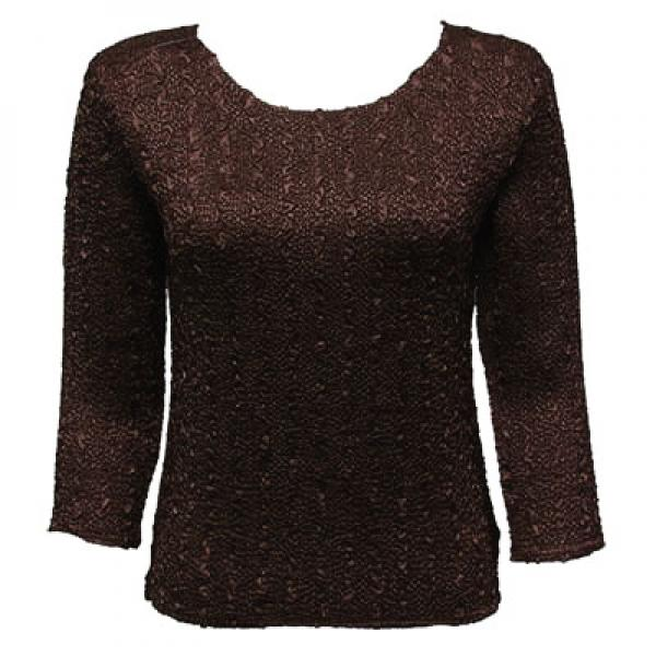 wholesale Overstock and Clearance Tops Magic Crush Satin Three Quarter - Solid Dark Brown - One Size Fits (S-L)