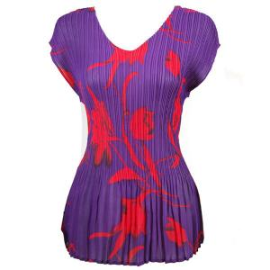 wholesale Overstock and Clearance Tops Georgette Mini Pleats Cap Sleeve V-Neck - Red Tulips on Purple - One Size (S-XL)