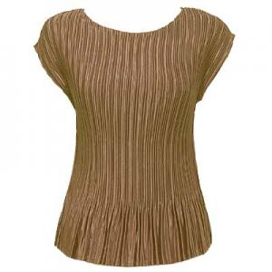 wholesale Overstock and Clearance Tops Satin Mini Pleats Cap Sleeve - Taupe - One Size (S-XL)