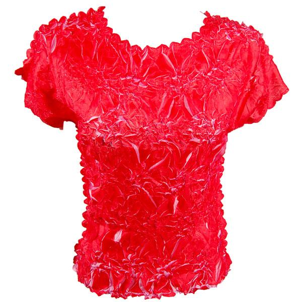 wholesale Overstock and Clearance Tops Origami Cap Sleeve - Scarlet-Flamingo - Queen Size Fits (XL-3X)