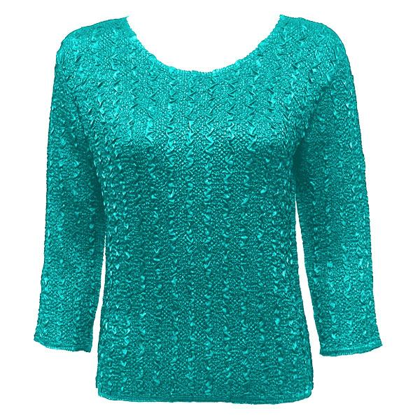 wholesale Overstock and Clearance Tops Magic Crush Silky Touch Three Quarter - Solid Bright Teal - One Size Fits (L-XL)