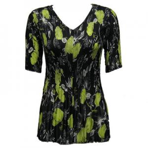 wholesale Overstock and Clearance Tops Georgette Mini Pleats Half Sleeve V-Neck - Black-Kiwi Floral - One Size (S-XL)