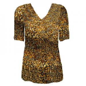 wholesale Overstock and Clearance Tops Georgette Mini Pleats Half Sleeve V-Neck - Leopard Print - One Size (S-XL)