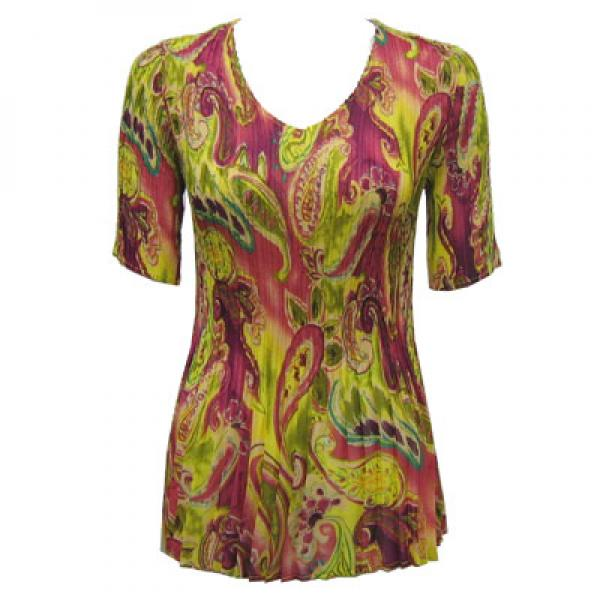 wholesale Overstock and Clearance Tops Georgette Mini Pleats Half Sleeve V-Neck - Pink-Lime Paisley - One Size (S-XL)