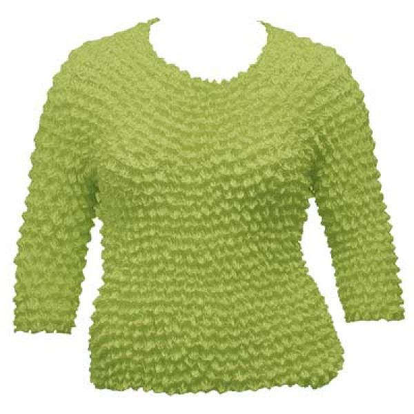 wholesale Overstock and Clearance Tops Silky Touch Popcorn Three Quarter Sleeve - Solid Leaf Green - Queen Size Fits (XL-3X)