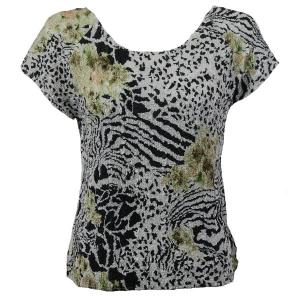 wholesale Overstock and Clearance Tops Magic Crush Silky Touch Cap Sleeve - Reptile Floral Green - Plus Size Fits (XL-2X)