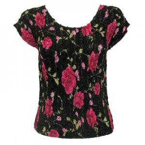 wholesale Overstock and Clearance Tops Magic Crush Satin Cap Sleeve - Black with Roses - One Size (S-L)