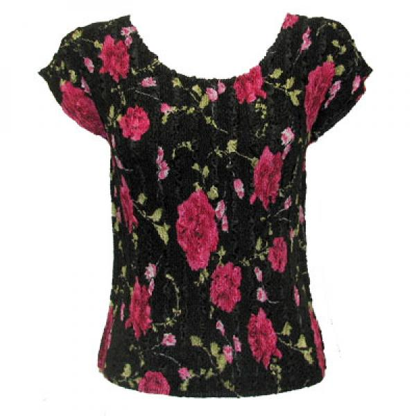 wholesale Overstock and Clearance Tops Magic Crush Satin Cap Sleeve - Black with Roses - One Size Fits (S-L)